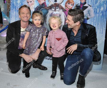 """Neil Patrick Harris, Harper Burtka-Harris, Gideon Burtka-Harris and David Burtka attend the world premiere of """"Frozen"""",, in Los Angeles"""