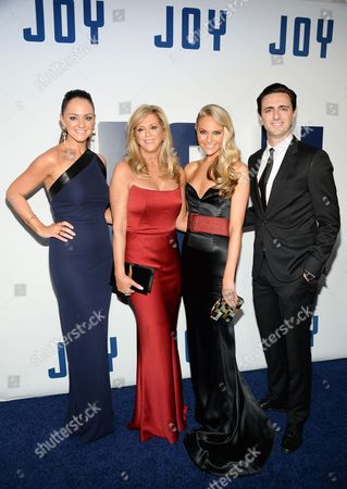"Christie Miranne, left, Joy Mangano, Jackie Miranne and Robert Miranne attend the world premiere of ""Joy"" at the Ziegfeld Theatre, in New York"