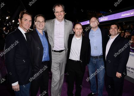 """From left to right, Open Road Films President of Marketing Jason Cassidy, Open Road Film CEO Tom Ortenberg, Dolphin Entertainment CEO Tom O'Dowd, Open Road Film CFO Steven Andriuzzo, Scooter Braun Projects COO Scott Manson, and Open Road Films EVP of Operations Elliott Kleinberg arrive at the premiere of the feature film """"Justin Bieber's Believe"""" at Regal Cinemas L.A. Live on in Los Angeles"""