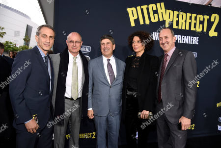 """Peter Cramer, co-president, Production, Universal Pictures, from left, producer Paul Brooks, Jeff Shell, chairman of Universal Filmed Entertainment, Donna Langley, chairman, Universal Pictures, and Jimmy Horowitz, president of Universal Pictures, arrive at the world premiere of """"Pitch Perfect 2"""" at Nokia Theatre L.A. Live, in Los Angeles"""