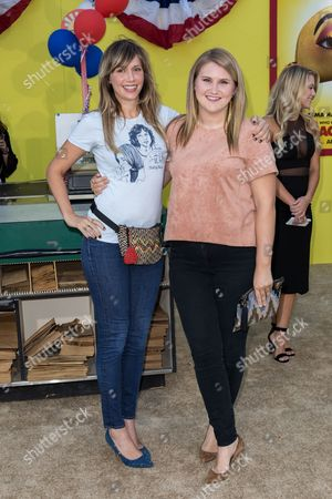 """Jillian Bell, right, and Charlotte Newhouse arrive at the world premiere of """"Sausage Party"""" at the Regency Village Theatre, in Los Angeles"""