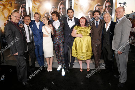 "Jared Harris, Kevin Zegers, Jamie Campbell Bower, Lily Collins, Robert Sheehan, Godfrey Gao, Novelist Cassandra Clare, Aidan Sheehan, Director Harald Zwart and Producer Robert Kulzer arrive on the red carpet at the world premiere of ""The Mortal Instruments: City of Bones"" at the ArcLight Cinerama Dome on in Los Angeles"