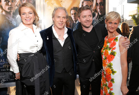 """Veslemoy Ruud Zwart, Director Harald Zwart, Composer Alti Orvarsson and Anna Orvarsson arrive on the red carpet at the world premiere of """"The Mortal Instruments: City of Bones"""" at the ArcLight Cinerama Dome on in Los Angeles"""