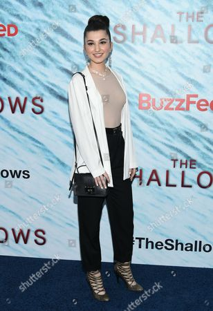 "Enisa Nik attends the world premiere of ""The Shallows"" at AMC Loews Lincoln Square, in New York"