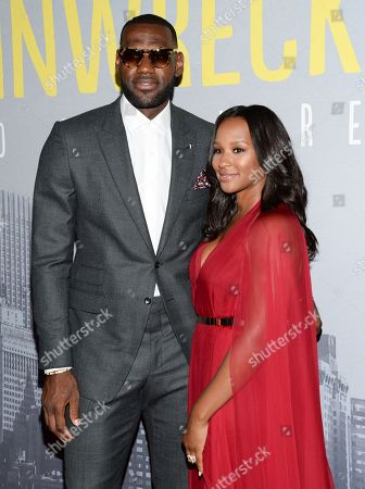 """Stock Picture of LeBron James and wife Savannah Brinson attend the world premiere of """"Trainwreck"""" at Alice Tully Hall, in New York"""