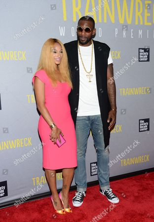 """Stock Picture of Amar'e Stoudemire and wife Alexis Welch attend the world premiere of """"Trainwreck"""" at Alice Tully Hall, in New York"""