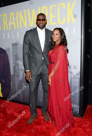 """LeBron James and wife Savannah Brinson attend the world premiere of """"Trainwreck"""" at Alice Tully Hall, in New York"""
