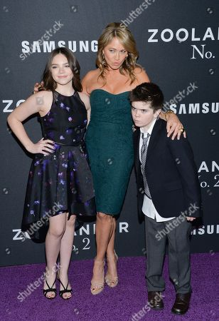 "Christine Taylor and her children Ella Stiller and Quinlin Stiller attend the world premiere of ""Zoolander 2"" at Alice Tully Hall, in New York"