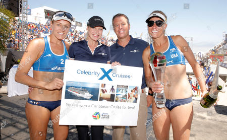 Team USA's Jennifer Kessy (left) wins a Caribbean cruise for female MVP presented by Celebrity Cruises' Scott Clifton and Cynthia Rose and pledges to take teammate April Ross (right) with her at Celebrity Cruises' Taste of Modern Luxury Culinary & Spa Tour at World Series of Beach Volleyball Finals on in Long Beach, Calif