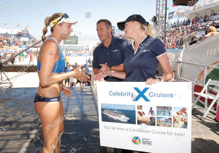 Team USA's Jennifer Kessy wins a Caribbean cruise for female MVP presented by Celebrity Cruises' Scott Clifton and Cynthia Rose at Celebrity Cruises' Taste of Modern Luxury Culinary & Spa Tour at World Series of Beach Volleyball Finals on in Long Beach, Calif