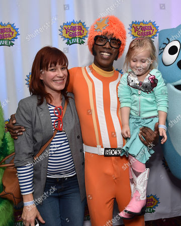 Franka Potente, and from left, DJ Lance Rock and Polly Richardson attend Yo Gabba Gabba! LIVE! Music Is Awesome! at the Shrine Auditorium, in Los Angeles