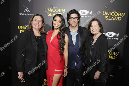 Lilly Singh, Director Scott Winn, Nick Shore, Chief Creative Strategist of Astronauts Wanted, and Judy McGrath, Founder and President of Astronauts Wanted, seen at YouTube star Lilly Singh debuts the World Premiere of 'A Trip to Unicorn Island' at TCL Chinese Theatre, in Hollywood, CA