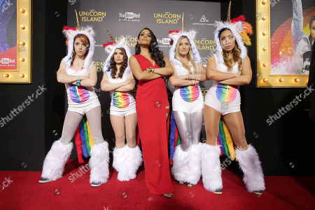 Lindsey Stirling, Rosanna Pansino, Lilly Singh, Justine Ezarik and Cassey Ho seen at YouTube star Lilly Singh debuts the World Premiere of 'A Trip to Unicorn Island' at TCL Chinese Theatre, in Hollywood, CA