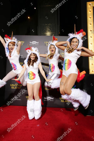 Lindsey Stirling, Rosanna Pansino, Justine Ezarik and Cassey Ho seen at YouTube star Lilly Singh debuts the World Premiere of 'A Trip to Unicorn Island' at TCL Chinese Theatre, in Hollywood, CA