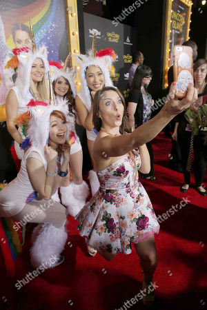 Lindsey Stirling, Justine Ezarik, Rosanna Pansino, Cassey Ho and Olga Kay seen at YouTube star Lilly Singh debuts the World Premiere of 'A Trip to Unicorn Island' at TCL Chinese Theatre, in Hollywood, CA