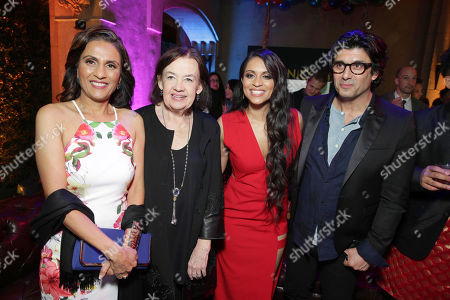 Mrs. Singh, Judy McGrath, Founder and President of Astronauts Wanted, Lilly Singh and Nick Shore, Chief Creative Strategist of Astronauts Wanted, seen at YouTube star Lilly Singh debuts the World Premiere of 'A Trip to Unicorn Island' after party at TCL Chinese Theatre, in Hollywood, CA