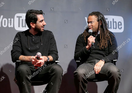 Fullscreen CEO George Strompolos, left, and Black List founder Franklin Leonard are seen at THR Talks panel presented by The Hollywood Reporter and YouTube at Park City Live, in Park City, Utah