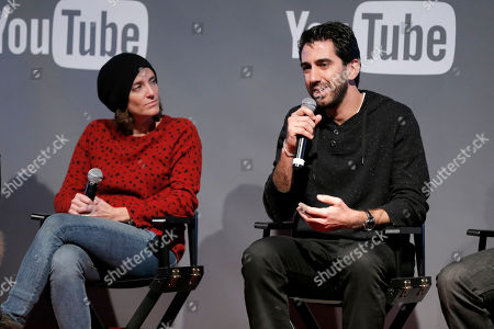 President of Gloria Sanchez, Jessica Elbaum, left, and Fullscreen CEO George Strompolos is seen at THR Talks panel presented by The Hollywood Reporter and YouTube at Park City Live, in Park City, Utah