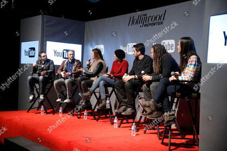 YouTube content creators Benny Fine, from left, Rafi Fine, writer/director Leslye Headland, President of Gloria Sanchez, Jessica Elbaum, Fullscreen CEO George Strompolos, Black List founder Franklin Leonard, and moderator Rebecca Ford are seen at THR Talks panel presented by The Hollywood Reporter and YouTube at Park City Live, in Park City, Utah