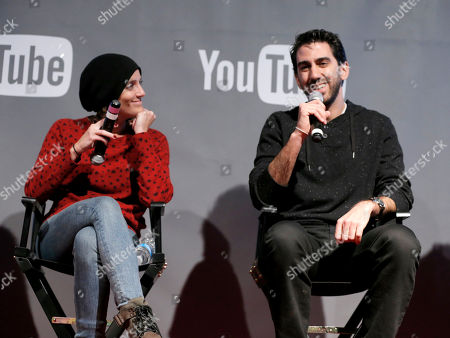 President of Gloria Sanchez, Jessica Elbaum, left, and Fullscreen CEO George Strompolos are seen at THR Talks panel presented by The Hollywood Reporter and YouTube at Park City Live, in Park City, Utah