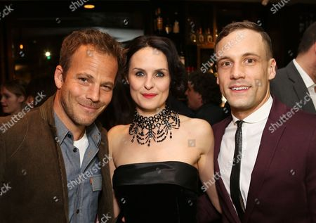 """From left, actor Stephen Dorff (played Stuart Sutcliffe in """"Backbeat"""" the movie), cast members Leanne Best (plays Astrid Kirchherr) and Nick Blood (plays Stuart Sutcliffe) pose during the party for the opening night performance of """"Backbeat"""" at the Center Theatre Group/Ahmanson Theatre on in Los Angeles, Calif"""