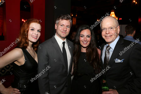 "Stock Picture of From left, cast member Lauren Elaine Taylor, Director Tony Speciale, Hannah Corneau and CTG Producing Director Douglas C. Baker pose during the party for the opening night performance of ""Harmony"" at Center Theatre Group/Ahmanson Theatre, in Los Angeles, Calif"