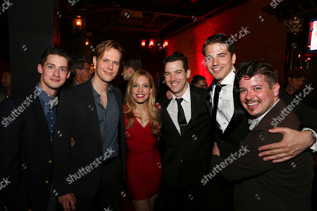 "From left, cast members Chris Dwan, Will Taylor, Leigh Ann Larkin, Matt Bailey, Douglas Williams and Will Blum pose during the party for the opening night performance of ""Harmony"" at Center Theatre Group/Ahmanson Theatre, in Los Angeles, Calif"