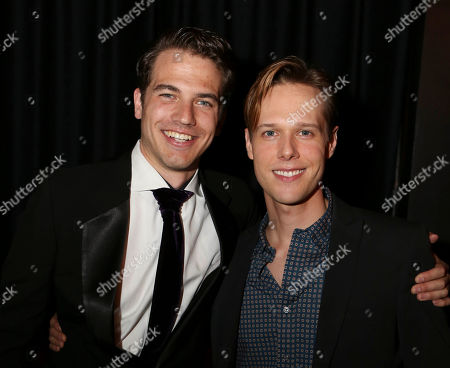 "From left, cast members Douglas Williams and Will Taylor pose during the party for the opening night performance of ""Harmony"" at Center Theatre Group/Ahmanson Theatre, in Los Angeles, Calif"