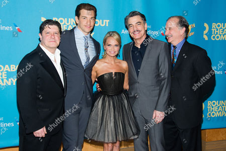 """Michael McGrath, Andy Karl, Kristin Chenoweth, Peter Gallagher and Mark Linn-Baker attend the opening night after party for Broadway's """"On the Twentieth Century"""" on in New York"""