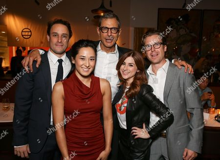 "From left, cast members Greg Keller, Jennifer Ikeda, Jeff Goldblum, Aya Cash and Lucas Near-Verbrugghe pose during the party for the opening night performance of ""Seminar"" at the Center Theatre Group/Ahmanson Theatre on 17, in Los Angeles, Calif"
