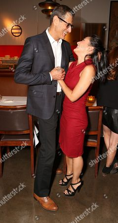 "Stock Photo of From left, cast members Jeff Goldblum and Jennifer Ikeda pose during the party for the opening night performance of ""Seminar"" at the Center Theatre Group/Ahmanson Theatre on 17, in Los Angeles, Calif"