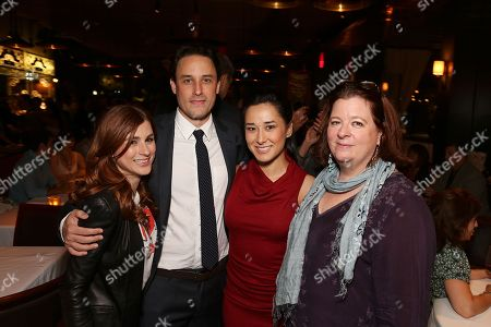 "From left, cast members Aya Cash, Greg Keller, Jennifer Ikeda and playwright Theresa Rebeck pose during the party for the opening night performance of ""Seminar"" at the Center Theatre Group/Ahmanson Theatre on 17, in Los Angeles, Calif"
