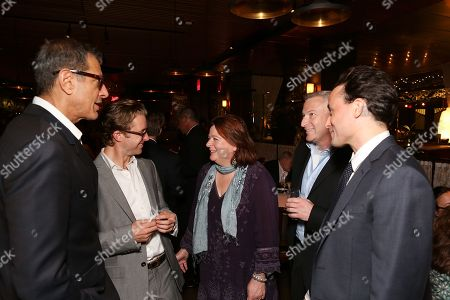 "From left, cast members Jeff Goldblum, Lucas Near-Verbrugghe, playwright Theresa Rebeck, producer Jeffrey Finn and cast member Greg Keller celebrate during the party for the opening night performance of ""Seminar"" at the Center Theatre Group/Ahmanson Theatre on 17, in Los Angeles, Calif"