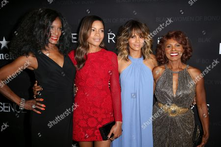 "Stock Photo of Trina Parks, from left, Naomie Harris, Halle Berry and Gloria Hendry arrive at ""Spectre"" - The Black Women Of Bond Tribute at the California African American Museum, in Los Angeles"