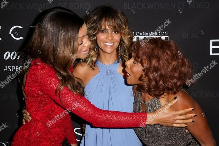 "Stock Picture of Naomie Harris, from left, Halle Berry and Gloria Hendry arrive at ""Spectre"" - The Black Women Of Bond Tribute at the California African American Museum, in Los Angeles"