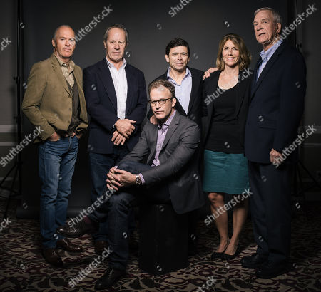 """From left to right) Michael Keaton, Walter Robinson, Michael Rezendes, Sacha Pfeiffer, Ben Bradlee Jr., and Thomas McCarthy poses for a portrait during press day for """"Spotlight"""" at The Four Seasons, in Los Angeles"""