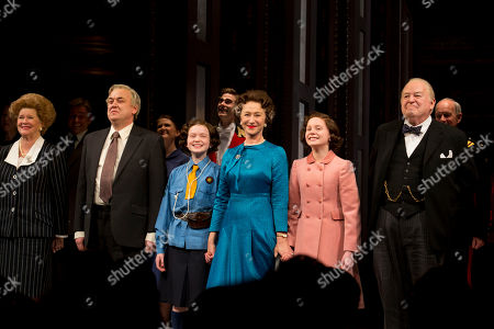 """Judith Ivey, from left, Richard McCabe, Sadie Sink, Helen Mirren, Elizabeth Teeter and Dakin Matthews appear on stage at the Broadway opening night curtain call of """"The Audience"""" at The Gerald Schoenfeld Theatre, in New York"""