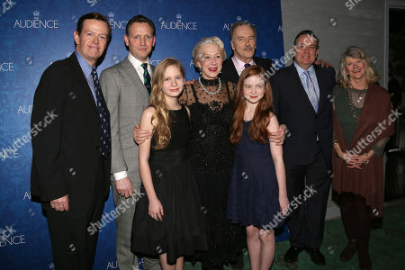 "From left, Dylan Baker, Rufus Wright, Elizabeth Teeter, Helen Mirren, Sadie Sink, Michael Elwyn, Richard McCabe and Judith Ivey attend the Broadway opening night after party of ""The Audience"", in New York"