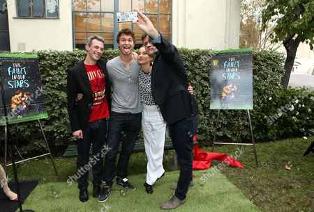 """IMAGE DISTRIBUTED FOR TWENTIETH CENTURY FOX HOME ENTERTAINMENT - Director Josh Boone, Ansel Elgort, Shailene Woodley and Author John Green at Fox 2000 Pictures and Twentieth Century Fox Home Entertainment celebration of the enormous success of """"The Fault in Our Stars"""" with a dedication of a replica of the iconic bench from the film held at Fox Studios, in Los Angeles, CA"""
