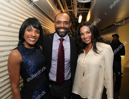 "From left, cast members Alicia Hall Moran, Nathaniel Stampley and actress Rochelle Aytes pose backstage after the opening night performance of ""The Gershwins' Porgy and Bess"" at the Center Theatre Group/Ahmanson Theatre, in Los Angeles, Calif"