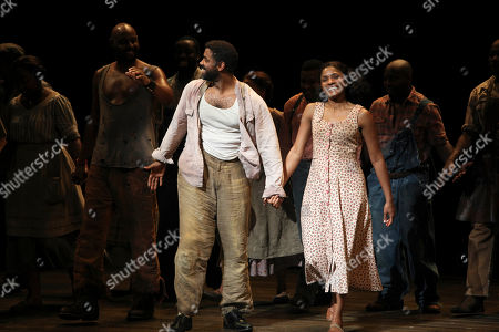"From left, cast members Nathaniel Stampley and Alicia Hall Moran take their bows during the curtain call for the opening night performance of ""The Gershwins' Porgy and Bess"" at the Center Theatre Group/Ahmanson Theatre, in Los Angeles, Calif"