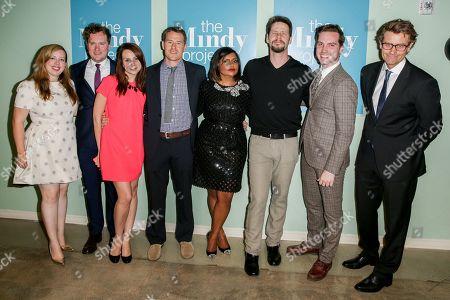 """Lang Fisher, from left, Matt Warburton, Tracey Wigfield, David Stassen, Mindy Kaling, Ike Barinholtz, Christopher Schleicher and Charlie Grandy arrive at """"The Mindy Project"""" FYC Event at UCB Sunset Theater, in Los Angeles"""