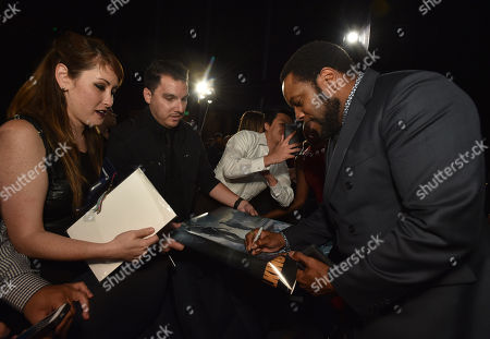 """Chad Coleman is seen with fans at """"The Walking Dead"""" ATAS FYC event at the Egyptian Theater on in Los Angeles"""