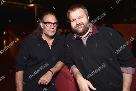 "Gregory Nicotero, left, and Robert Kirkman are seen at ""The Walking Dead"" ATAS FYC event at the Egyptian Theater on in Los Angeles"