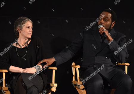 """Melissa McBride, left, and Chad Coleman are seen at """"The Walking Dead"""" ATAS FYC event at the Egyptian Theater on in Los Angeles"""