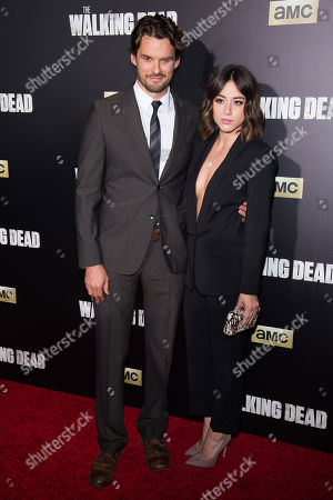 """Austin Nichols and Chloe Bennet attend AMC's """"The Walking Dead"""" season six premiere fan event at Madison Square Garden, in New York"""