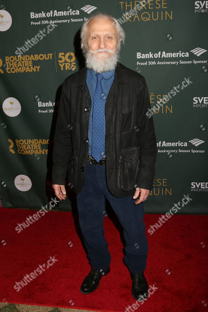 """David Patrick Kelly poses for photos after the Broadway opening night for """"Therese Raquin"""" at Studio 54, in New York"""