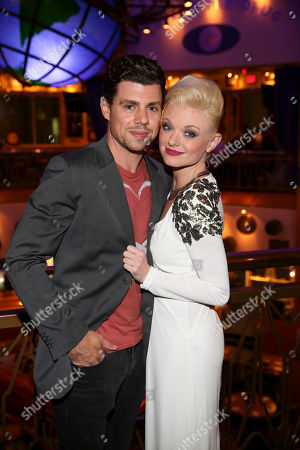 """From left, actor Ciaran McCarthy and cast member Ruby Lewis pose during the party for the opening night performance of Queen and Ben Elton's """"We Will Rock You"""" at the Center Theatre Group/Ahmanson Theatre, in Los Angeles, Calif"""