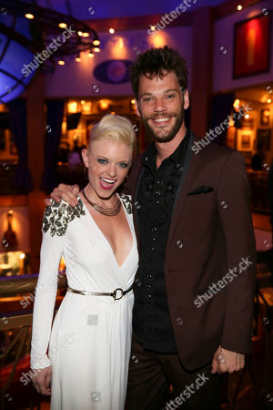 """From left, cast members Ruby Lewis and Ryan Knowles pose during the party for the opening night performance of Queen and Ben Elton's """"We Will Rock You"""" at the Center Theatre Group/Ahmanson Theatre, in Los Angeles, Calif"""