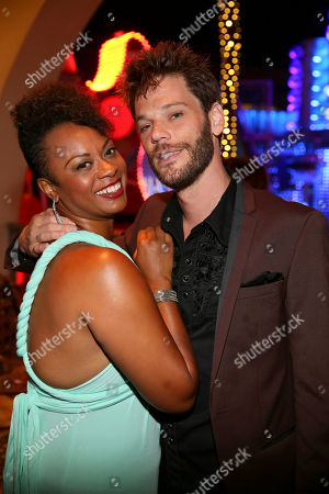 "Stock Image of From left, cast members Jacqueline B. Arnold and Ryan Knowles pose during the party for the opening night performance of Queen and Ben Elton's ""We Will Rock You"" at the Center Theatre Group/Ahmanson Theatre, in Los Angeles, Calif"